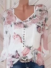 Load image into Gallery viewer, Square Neck  Decorative Button  Floral Printed Blouses