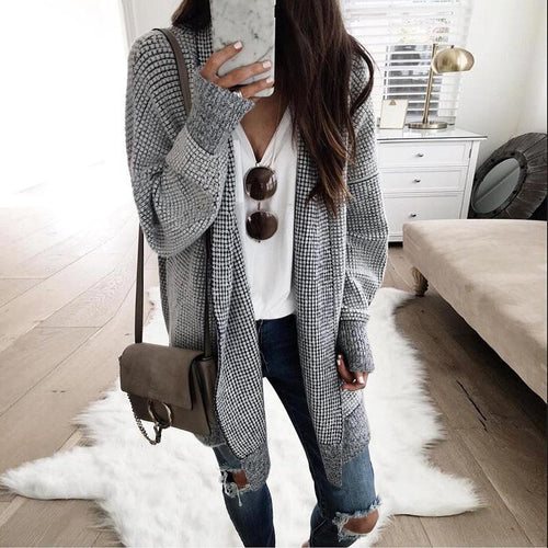 Fashion Plaids Long Sleeve Cardigans - Chicsit