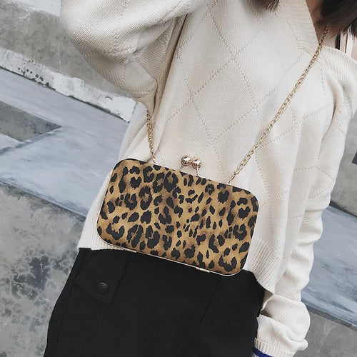 Lady Stylish Casual Rectangle Leopard Print Buckle Chain One Shoulder Bag