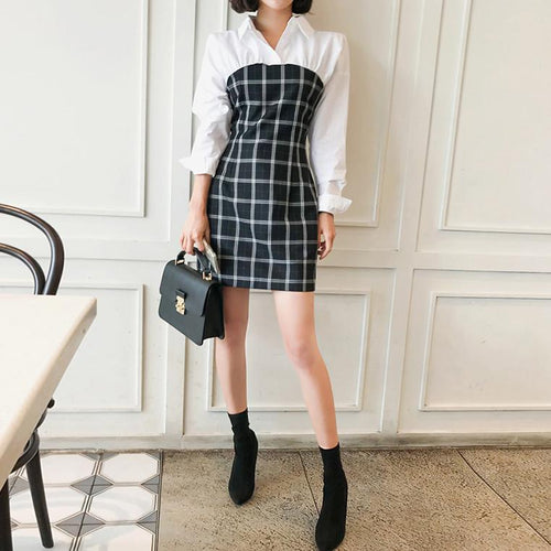Shirt Collar Stitching Plaid Contrast Long-Sleeved Mini Dress