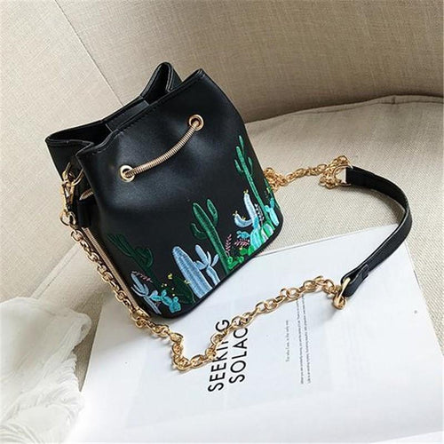 PU Bucket Bag Desert Cactus Printing Single Shoulder Slanting Straddle Bag