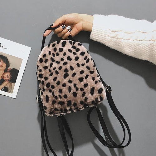 Leopard-Print Plush Bulky Backpack Bag