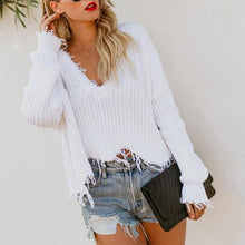 Load image into Gallery viewer, V Neck Loose Solid Color Top Sweaters