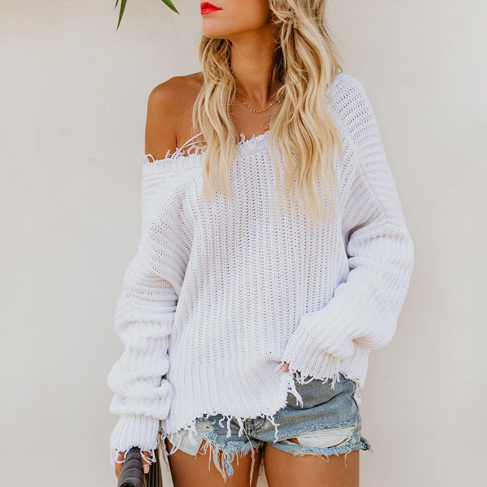 V Neck Loose Solid Color Top Sweaters