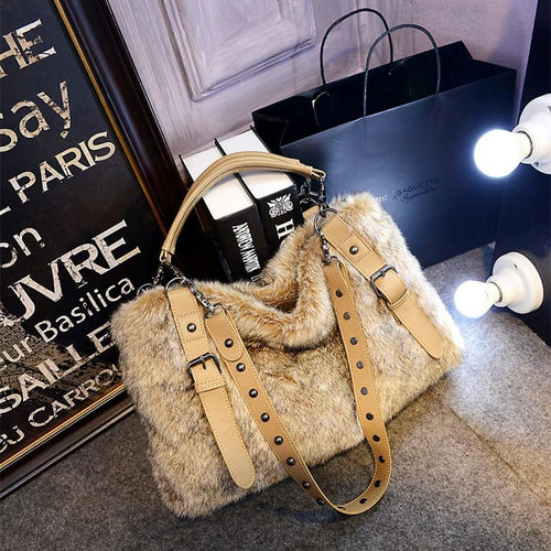 Pure Color  Imitation Rabbit Fur Bag Handbag Fur Bag
