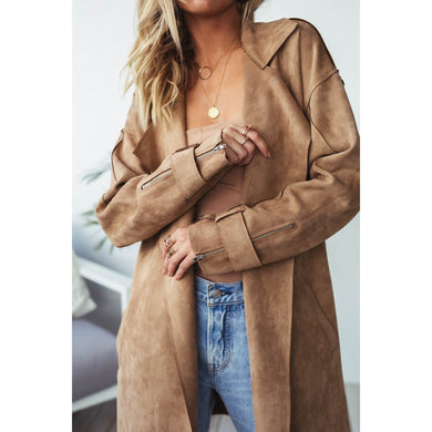 Turndown Collar Pure   Colour Long Sleeve Zipper Coat