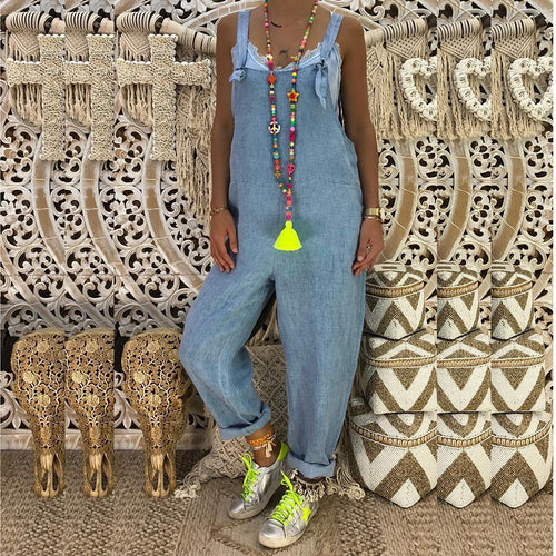Women Denim Jumpsuit Cool Casual Sleeveless Slim Rompers Overalls