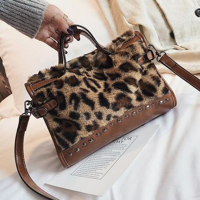 Leopard Print Plush Versatile Handbag With Single Shoulder Messenger Bag