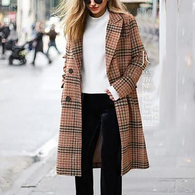Plaid Woolen Coat Long Sleeve Lapels Woolen Coat