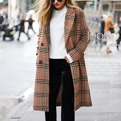 Lapel Long Sleeve Plaids Button Coats