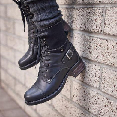 Winter Comfortable Middle Heel Strappy Buckle Thicken Boots