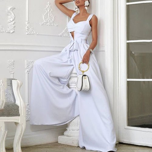 fashion Off-Shoulder Pure Colour Belted Jumpsuits
