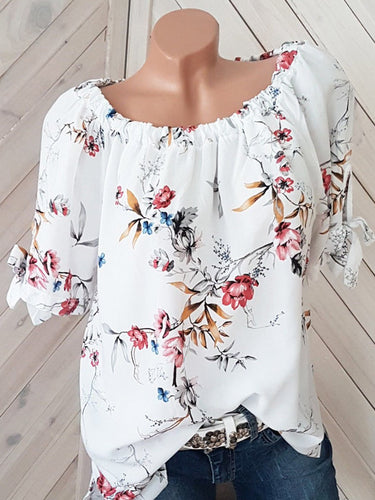 Round Neck  Loose Fitting  Printed Short Sleeve T-Shirts