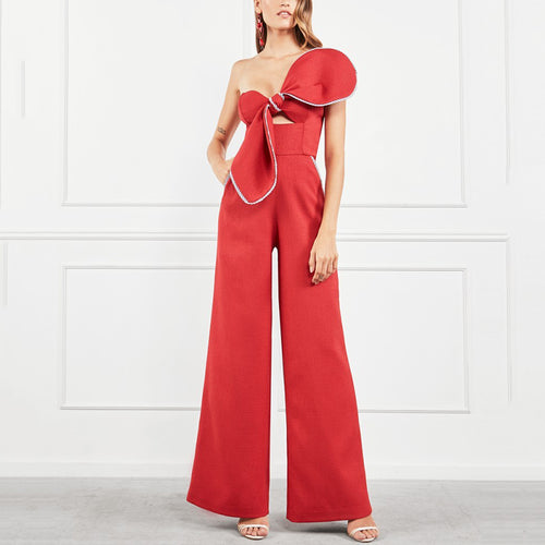 women's Elegant Sexy Bowknot Hollow Jumpsuit