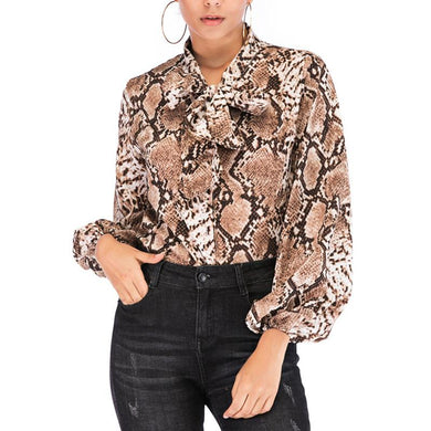 Fashion Snake Print Belted Long Sleeve Shirt
