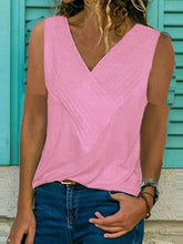 Load image into Gallery viewer, V Neck Sleeveless Plain T-Shirts