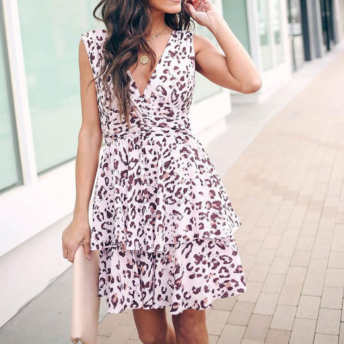 Sexy V Neck Ruffled Sleeveless Leopard Print Bare Back Dress
