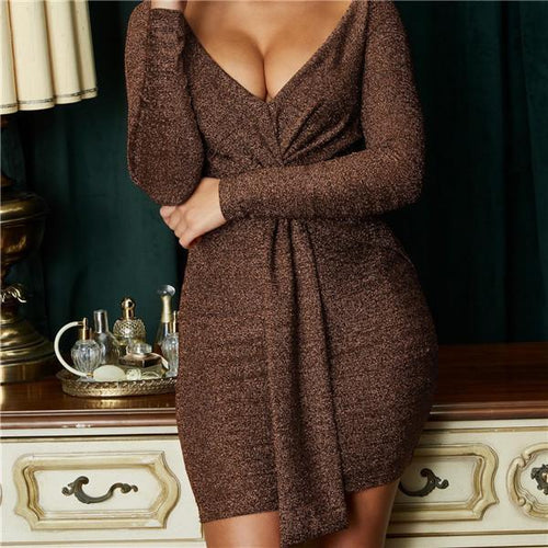Sexy V Collar Long Sleeves Mini Dresses