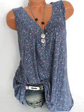 Load image into Gallery viewer, V Neck  Loose Fitting  Printed Sleeveless T-Shirts