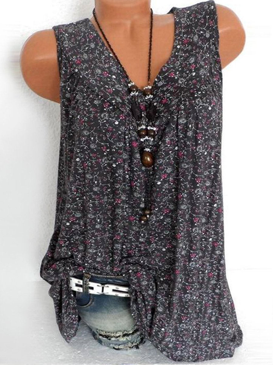 b74bb1199f4c Load image into Gallery viewer, V Neck Loose Fitting Printed Sleeveless T- Shirts