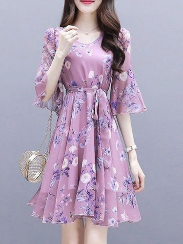 Round Neck  Floral  Bell Sleeve Shift Dress