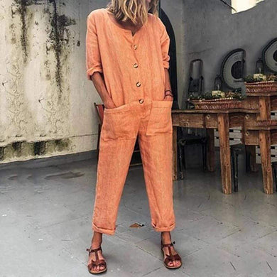 Leisure Loose Pure Color Jumpsuits