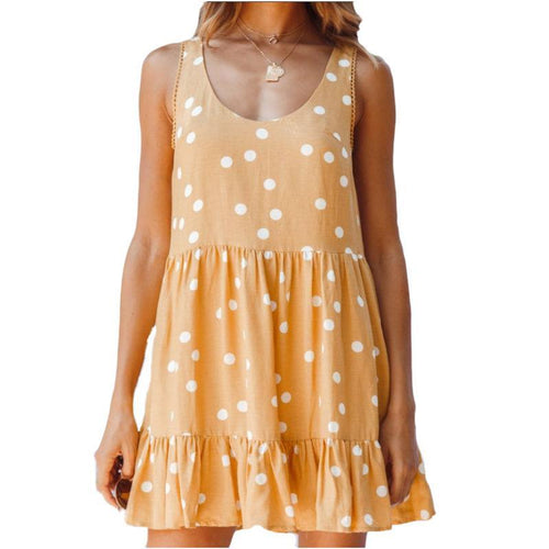 Summer Polka-Dot V-Neck Sleeveless Loose Waist Dress