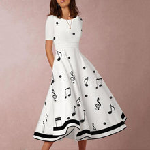 Load image into Gallery viewer, Round Neck  Printed Skater Dress