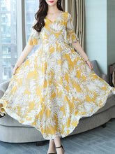 Load image into Gallery viewer, Round Neck  Floral Printed  Bell Sleeve Maxi Dress