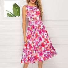 Load image into Gallery viewer, A Sleeveless Print Round Collar Skater Dress