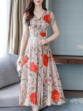 Load image into Gallery viewer, V Neck  Floral Printed Maxi Dress
