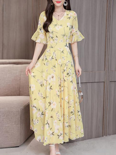 V-Neck  Floral Printed Maxi Dress