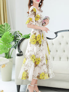 V Neck  Floral Printed  Bell Sleeve Maxi Dress