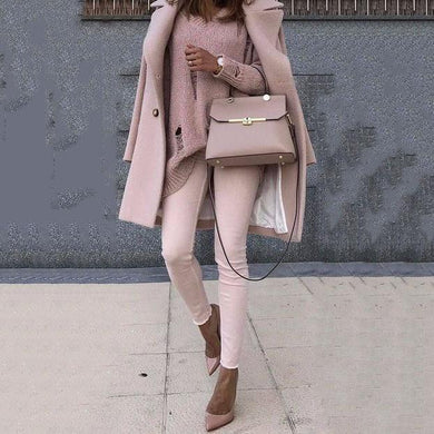 Sweet Plain Pink Loose Woolen Long Coat