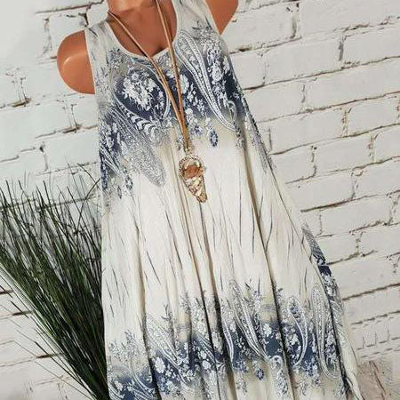 Round Neck  Printed Sleeveless Shift Dress