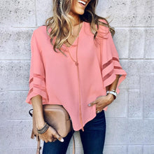 Load image into Gallery viewer, V Neck  Plain  Bell Sleeve  Blouses