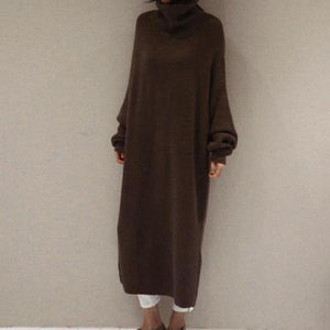 Fashion Simple And Loose Long Sleeves Knitted Sweater Shown Thin Maxi Dress