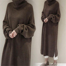 Load image into Gallery viewer, Fashion Simple And Loose Long Sleeves Knitted Sweater Shown Thin Maxi Dress