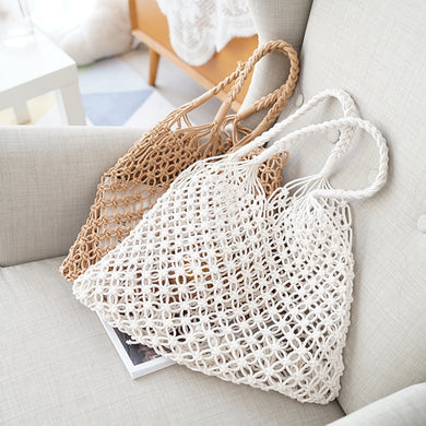 Fashion Knitting Hollow Out One Shoulder Beach Handbag - Chicsit