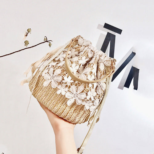 Fashion Lace Straw Bucket Single-Shoulder Hand Bag - Chicsit
