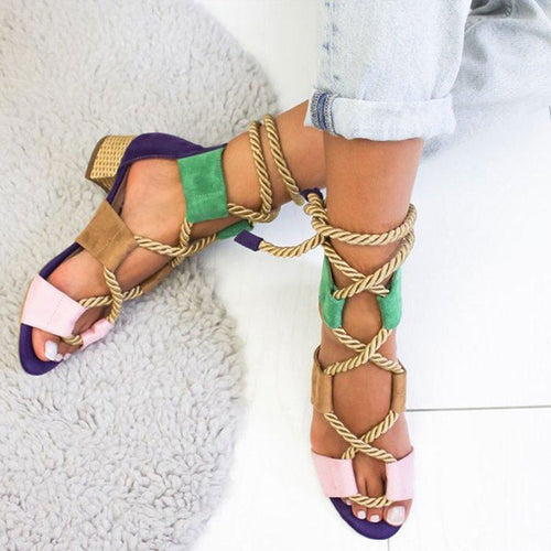 Color Block  Chunky  Low Heeled  Peep Toe  Date Travel Sandals🔥