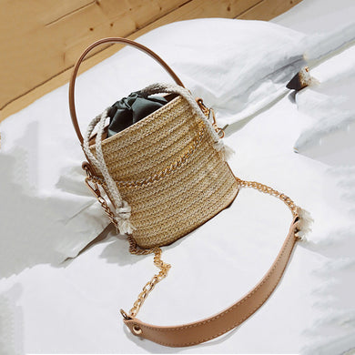 Fashion Straw One Shoulder Chain Bucket Hand Bag