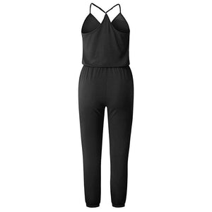 Women's Fashion Sleeveless Plain Jumpsuits
