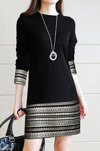 Round Neck Printed Daily Casual Dress