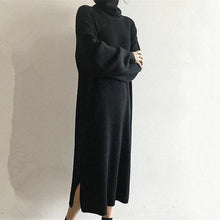 Load image into Gallery viewer, Fashion Simple Loose High Collar Knitted Maxi Dress