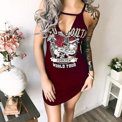 V Neck  Letters Printed  Sleeveless Bodycon Dresses