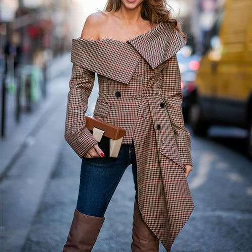 Fashion Sexy Off Shoulder Plaid Long Sleeve Blouses