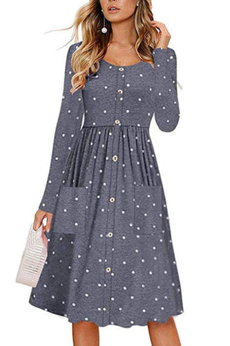 Round Neck  Single Breasted  Dot  Long Sleeve Maxi Dresses