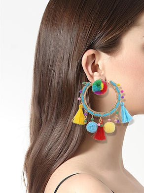 Fashion personality hair ball earrings geometric big circle exaggerated tassel earrings