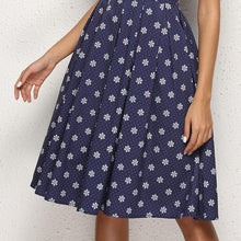 Load image into Gallery viewer, Retro Classic Short Sleeved Round Collar Print Skater Dress